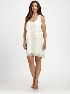 Sheri Bodell, Salon Z - Silk Beaded Tank Dress