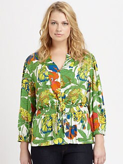 T-bags Los Angeles, Salon Z - Printed V-Neck Blouse