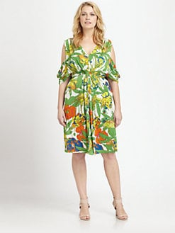 T-bags Los Angeles, Salon Z - Printed Draped-Back Dress