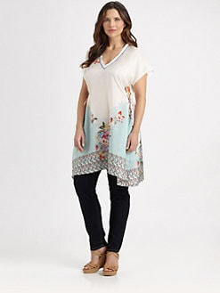 Johnny Was, Salon Z - Silk Floral-Detail Tunic