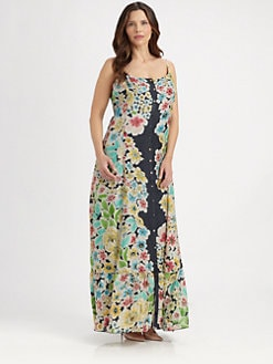 Johnny Was, Salon Z - Silk Floral-Print Maxi Dress