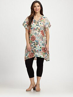Johnny Was, Salon Z - Silk Floral-Print Tunic