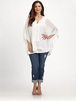 Johnny Was, Salon Z - Embroidered-Trim Poncho