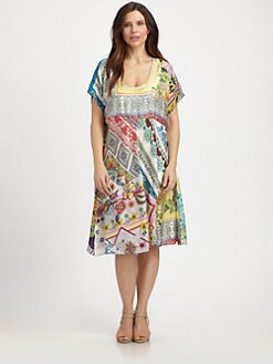 Johnny Was, Salon Z - Silk Mixed-Print Dress