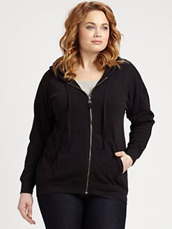 Splendid, Salon Z - Cotton-Slub Zip-Front Hoodie