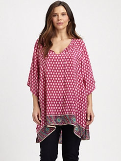 Tolani, Salon Z - Border Print Silk Tunic