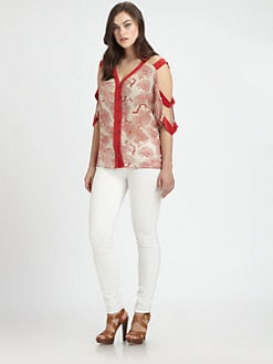Sheri Bodell, Salon Z - Ladder-Sleeve Silk Blouse