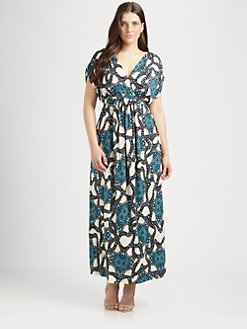 T-bags Los Angeles, Salon Z - Printed V-Neck Maxi Dress