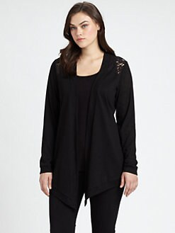 Beyond Vintage, Salon Z - Lace-Shoulder Cardigan