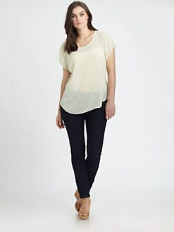 Beyond Vintage, Salon Z - Swiss-Dot Scoopneck Tee