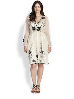 Beyond Vintage, Salon Z - Embroidered Surplice Dress