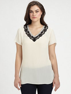 Beyond Vintage, Salon Z - Lace-Trim Silk Tee