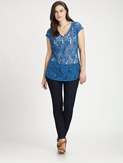 Beyond Vintage, Salon Z - Deep V-Neck Lace Tee