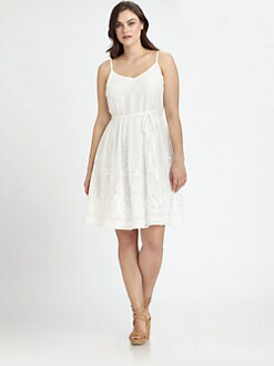 Beyond Vintage, Salon Z - Chiffon Embroidered-Skirt Dress
