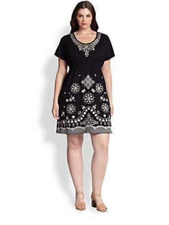 Johnny Was, Salon Z - Scoopneck Embroidered Dress