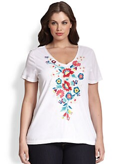 Johnny Was, Salon Z - Embroidered Cotton Tee