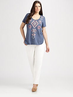 Johnny Was, Salon Z - Embroidered Shirttail Tee