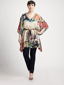 Johnny Was, Salon Z - Mixed-Print Silk Tunic