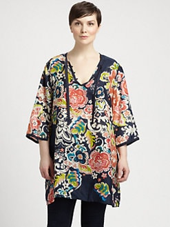 Johnny Was, Salon Z - Printed Tie-Neck Silk Tunic