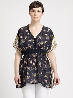 Johnny Was, Salon Z - Silk Empire-Waist Tunic