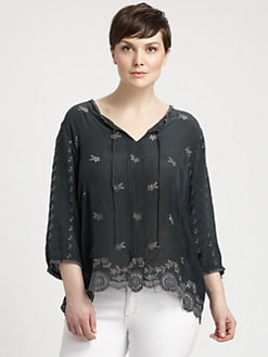 Johnny Was, Salon Z - Tie-Neck Embroidered Tunic