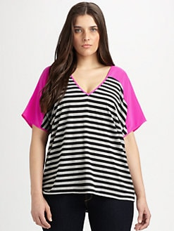 Single, Salon Z - Silk-Sleeved Knit Top