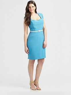 Single, Salon Z - Square-Neck Gabardine Dress
