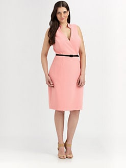 Single, Salon Z - Faux Wrap Gabardine Dress