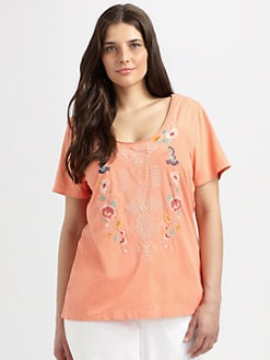 Johnny Was, Salon Z - Embroidered Scoopneck Tee