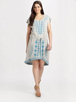 Johnny Was, Salon Z - Embroidered Drawstring-Waist Dress