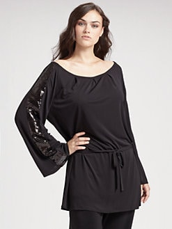 Anna Scholz, Salon Z - Sequined Sleeve Belted Tunic