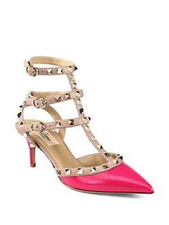 Valentino - Rockstud Patent Leather & Leather Pumps