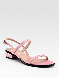 Valentino - Rockstud Leather Slingback Sandals