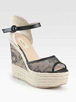 Valentino - Glamorous Lace & Leather Espadrille Wedge Sandals