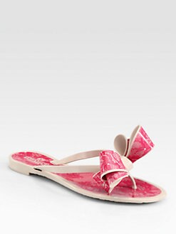 Valentino - Lace-Print Bow Jelly Thong Sandals