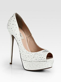 Valentino - Bridal Crystal-Coated Satin Platform Pumps