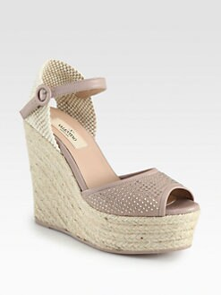 Valentino - Studded Leather Espadrille Wedge Sandals