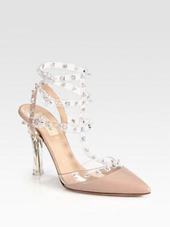 Valentino - Naked Rockstud Leather Slingback Pumps