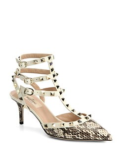 Valentino - Rockstud Snakeskin Slingback Pumps