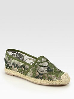 Valentino - Camouflage Leather-Trimmed Lace Espadrilles