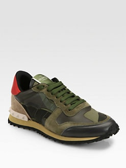 Valentino - Camouflage Leather & Suede Sneakers