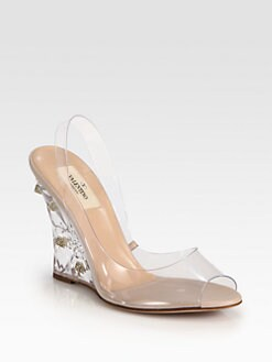 Valentino - Naked Rockstud Lucite Wedge Sandals