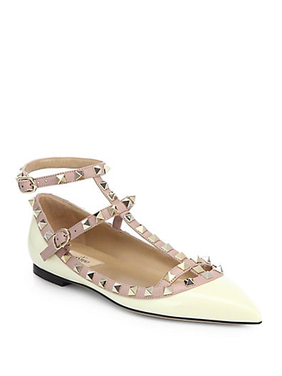 Rockstud Patent Leather Cage Flats