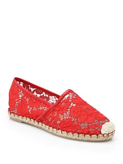 Valentino - Heavy Lace & Leather Espadrille Flats