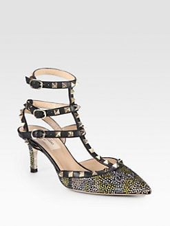 Valentino - Camouflage Crystal-Coated Leather Slingback Pumps
