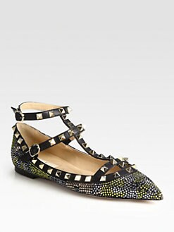 Valentino - Camouflage Crystal-Coated Leather Ballet Flats