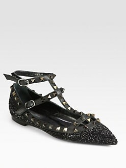 Valentino - Crystal-Coated T-Strap Leather Cage Flats
