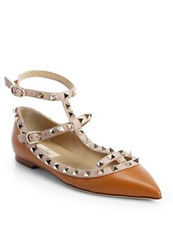 Valentino - Leather Rockstud Cage Flats