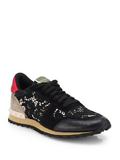 Valentino - Leather & Lace Sneakers