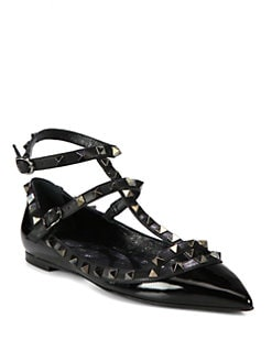 Valentino - Noir Rockstud Cage Flats